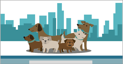 Illustration of a group of dogs