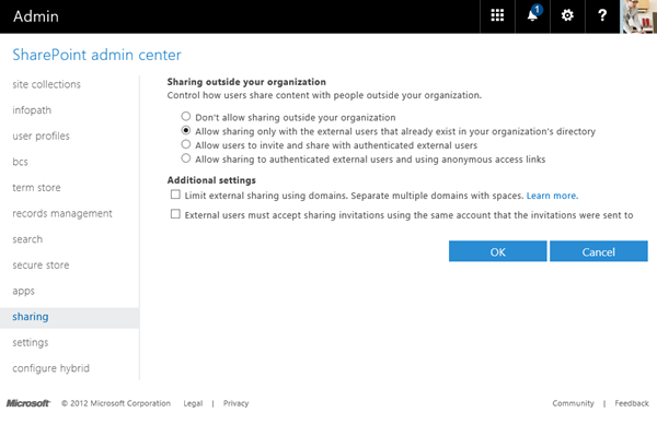SharePoint Admin center external sharing options