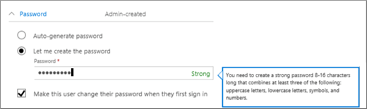 Shows the password requirements if you decide to create an initial password for the user.