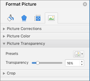 Adjust the color transparency in the Format Picture pane