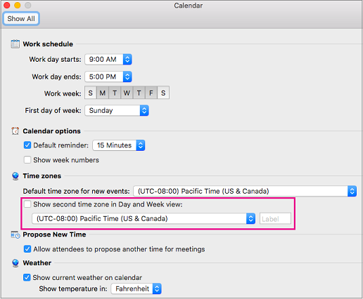 Calendar options with Show second time zone in Day and Week view highlighted
