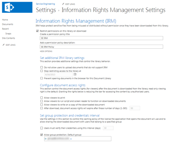 Apply Information Rights Management to a list or library