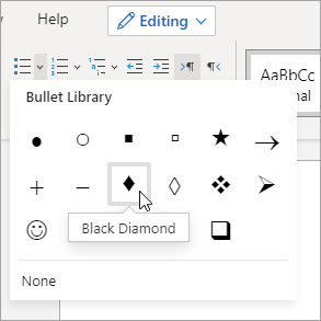 Bullet Library drop-down menu