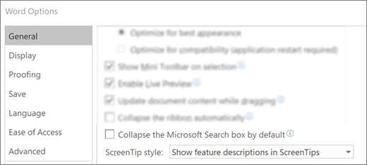 The File > Options dialog box showing the Collapse the Microsoft Search box by default option.