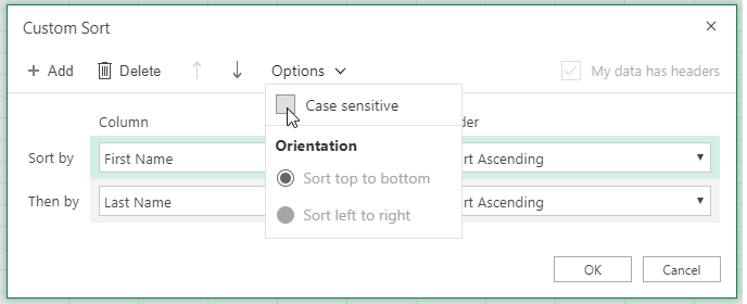 Custom sort dialog case when sensitive selected
