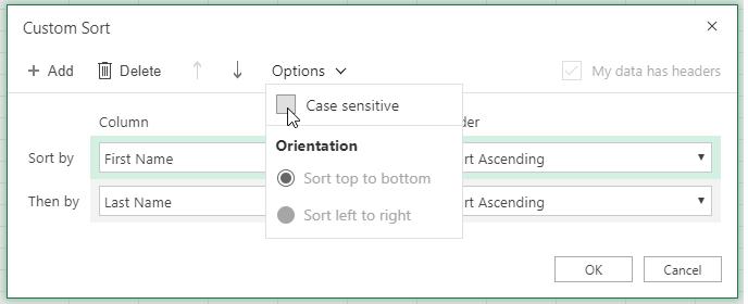 Custom sort dialog case when sensitive selected