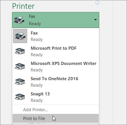 Print to File option