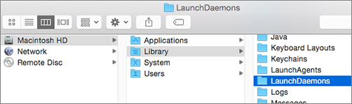 Browse to the Library folder and then the LaunchDaemons folder