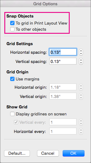 In Grid Options, set snap-to options and grid measurements.