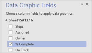 Data Graphic Fields pane, % Complete field checked and selected