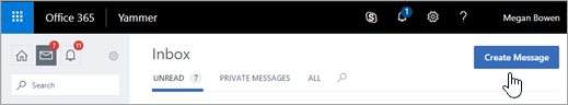 Create a message from the Yammer Inbox