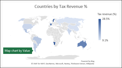 Excel map chart displaying values with Countries by Tax Revenue %