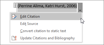 Select Citation Options, and then Edit Citation