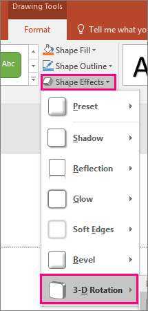 Shows the 3-D rotation option in the Shape Effects menu of PowerPoint 2016.