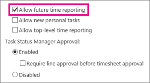 Allow future time reporting