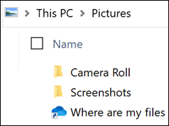 Icon shows where are my files?