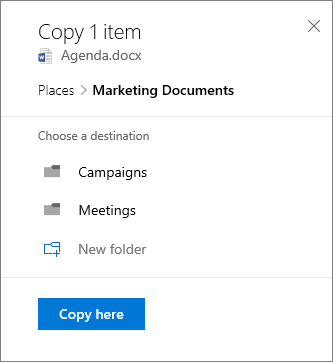 Screenshot of choosing a location when copying a file to SharePoint
