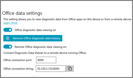 The Diagnostic Data Viewer settings, showing the Office Connection String