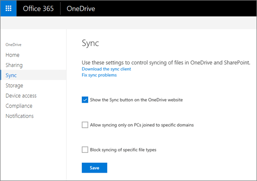 The Sync tab of the OneDrive admin center