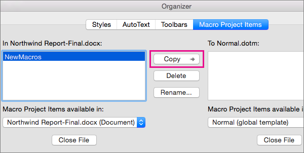 Select a macro in a document, and then click Copy to copy it to a selected template.