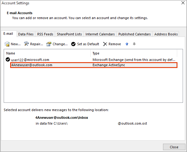 Outlook Account Settings, Email Accounts