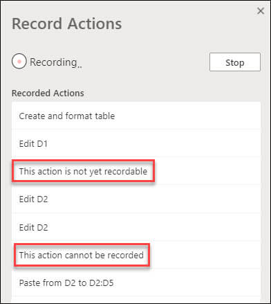 Racord Actions dialog indicating when certain steps could not be recorded.