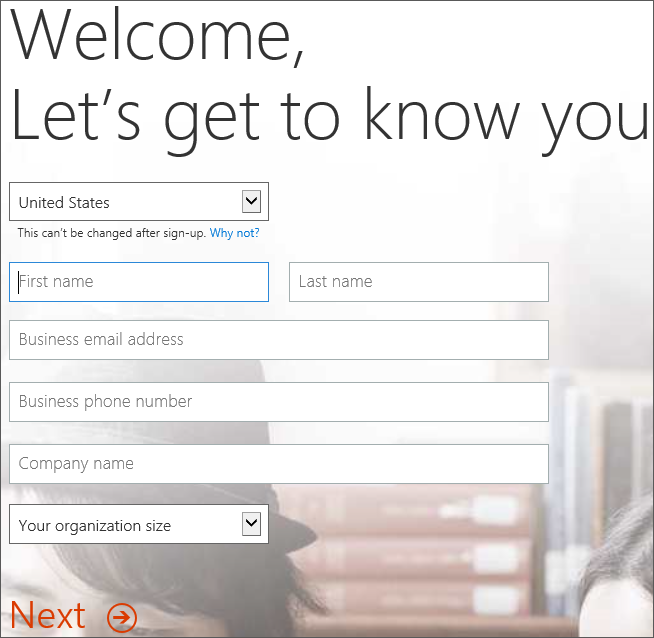 Shows the Welcome, Lets get to know you page. Enter your sign-up details here.
