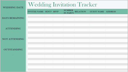 Conceptual image of a wedding tracker spreadsheet