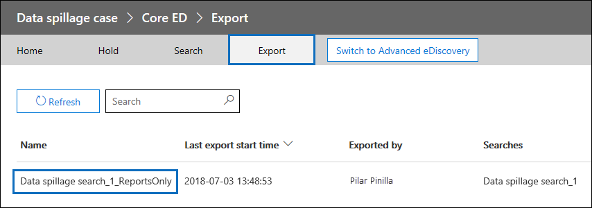 "On the Export page, click the export and then click ""Download report"""