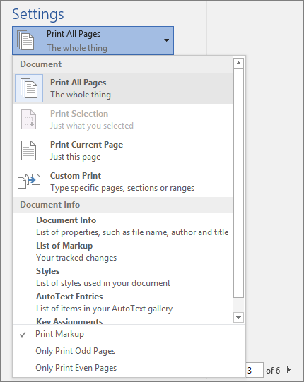 Screenshot of the Print pane with the Print All Pages menu expanded to show additional options.