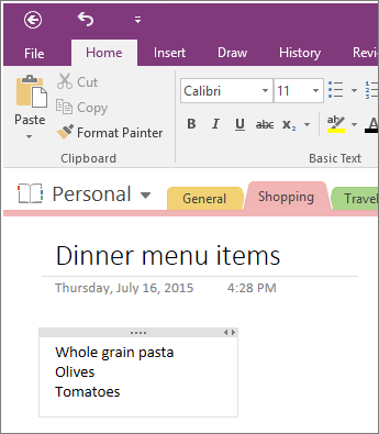 To add notes in OneNote 2016, just start typing on a page.