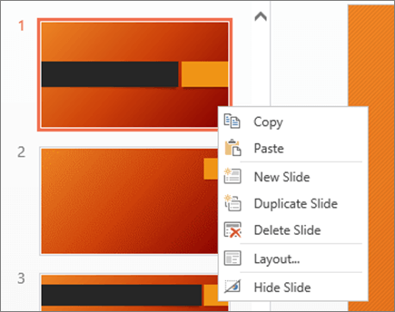 Slide right-click menu
