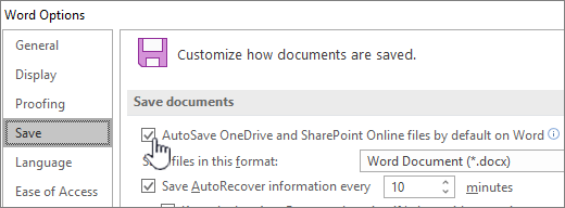 Turn on default autosave in Word