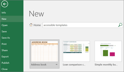 Screen clip of Excel user interface showing search box filled with accessible templates entry and search results of accessible templates.