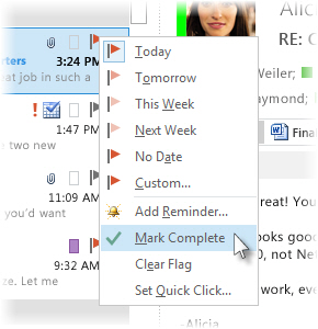 Mark Complete command on the right-click menu in the message list