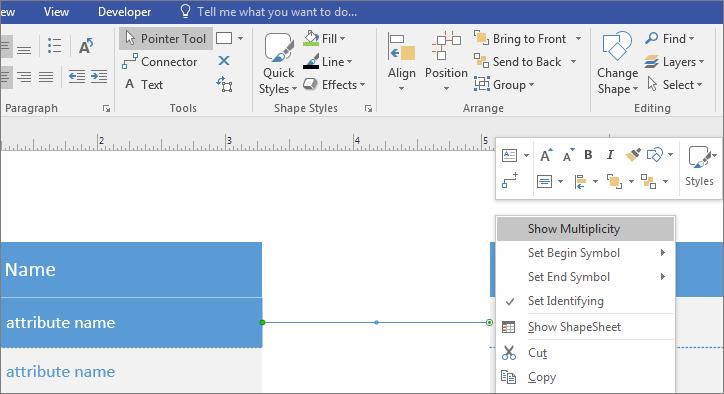 Specify multiplicity on an UML shape - Visio