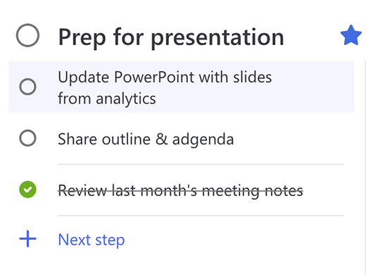 Screenshot showing the to-do Prep for presentation open with three Steps