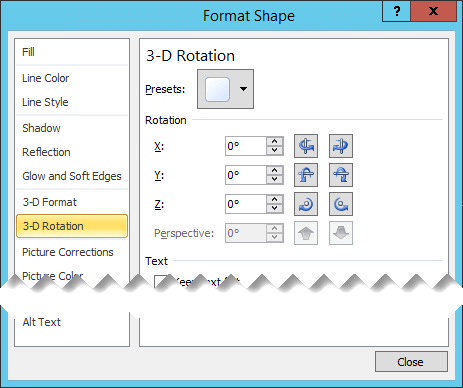 The 3D Rotation options in the Format Shape dialog box