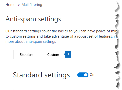 This screenshot shows the location of the Custom tab on the Anti-spam settings page in the Security & Compliance Center.