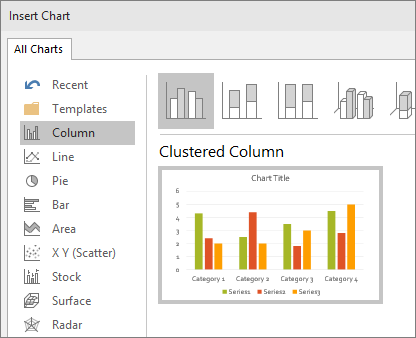 Shows column chart selection in powerpoint