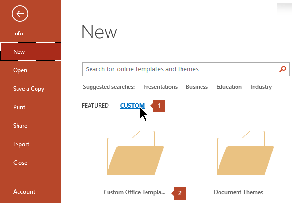Create and save a powerpoint template powerpoint under file new click custom and then custom office templates toneelgroepblik Gallery