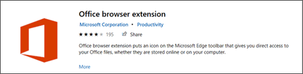 The Office browser extension panel in the Microsoft store.