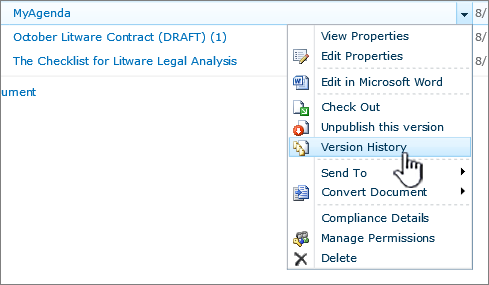 Dropdown menu from document with version history highlighted