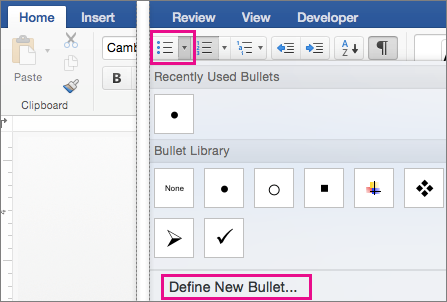 In the Bullets gallery, Define New Bullet is highlighted.