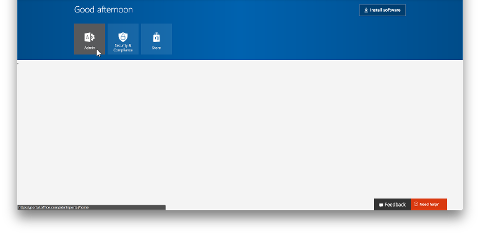 Shows the Admin tile in the Office 365 portal