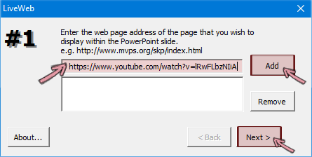 Paste the https address of the video you want to insert