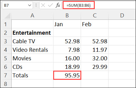 How to total a row in excel 2013