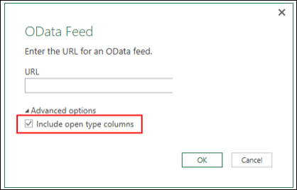 Power Query - Enhanced OData connector—option to import Open Type columns from OData feeds