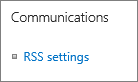 List communications (RSS) settings