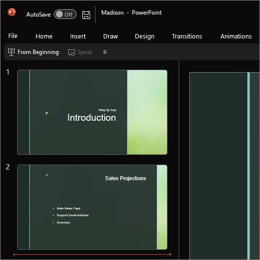 PowerPoint using Black theme